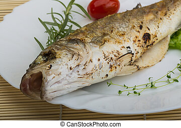 Grilled seabass fish - with rosemary and thyme