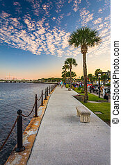 Path along the Matanzas River in St. Augustine, Florida. -...