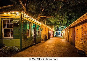 Narrow brick alley at night, in St. Augustine, Florida. -...