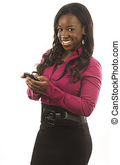 hispanic woman working with personal device cell phone -...