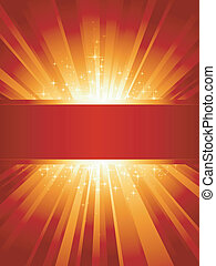 Vertical red golden light burst with stars and copyspace