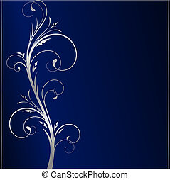 Elegant dark blue background with silver floral elements -...