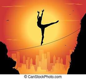 tightrope walker - silhouette of dancer tightrope walker