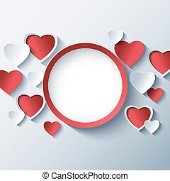 Love background, Valentines day frame with 3d hearts -...