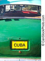 Cuba car - Typical car from Cuba with manipulated license...