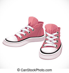 Pink sports sneakers with white laces isolated on white...
