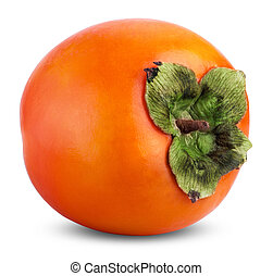 persimmon - Persimmon fruit isolated on white background....