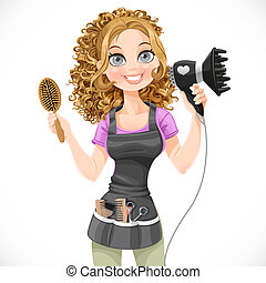 Cute girl hairdresser with hair dryer and hairbrush isolated...