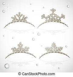 Gold Crown tiara snowflakes shaped for Christmas ball