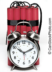 Time Bomb - alarm clock and sticks of dynamite fashioned...
