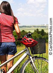 biking woman relaxing