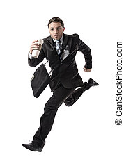 young attractive businessman with take away coffee running...