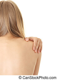 Pain in her back - Woman from behind, naked body, pain...
