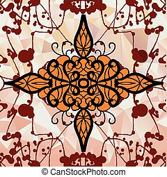 Symmetry ornamental design over triangles background with blots