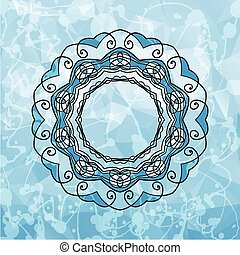 Round Pattern Mandala with copyspace in a center. Abstract design of Persian- Islamic-Turkish-Arabic vector circle floral ornamental border over the triangles background