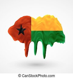 Flag of Guinea Bissau painted colors. Blot with paint...