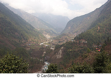 Dudh Kosi river valley, Himalayas, Nepal - Dudh Kosi valley,...