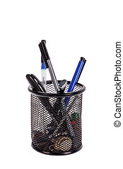 tools in pen holder isolated on white background - Various...