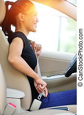 woman driver buckle up seatbelt - woman driver buckle up the...