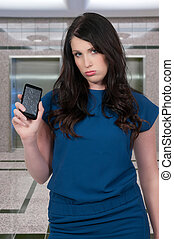 Woman with cracked phone screen - Beautiful woman with a...