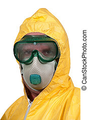 Hazmat Suit - Man wearing a hazmat suit in the face of...