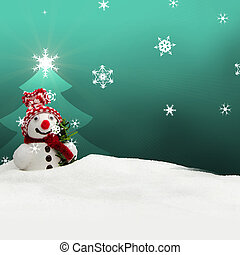 snowman Merry Christmas turquoise