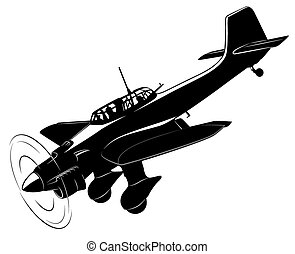 Vector airplane - Vector silhouette of the old fighter plane