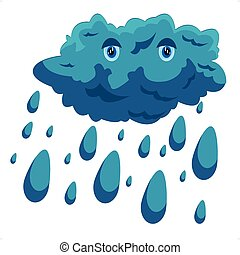 Cartoon cloud - Illustration cloud and rain on white...
