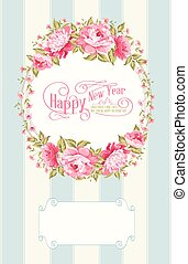 Flower garland - Border of flowers in vintage style with...