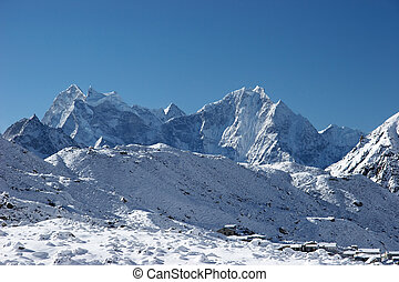 Mountain village after snowfall, Himalayas, Nepal - Gokyo...