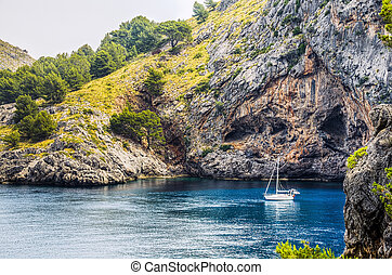 Boat anchored at Sa Calobra - A boat archored at Sa Calobra...