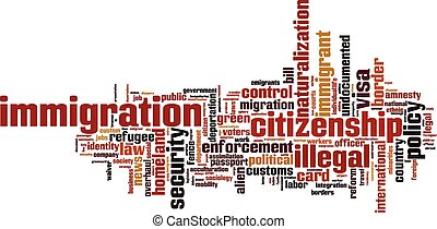 Immigration word cloud concept Vector illustration