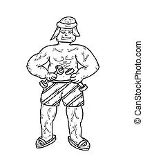 young man body building with two dumbbells, sketch, vector,...