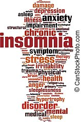 Insomnia word cloud concept. Vector illustration