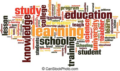 Learning word cloud concept Vector illustration