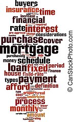 Mortgage word cloud concept Vector illustration