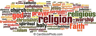 Religion word cloud concept Vector illustration
