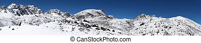 Rocky mountain landscape covered with snow, Himalaya