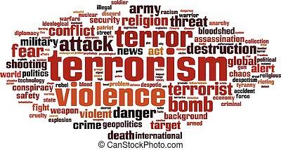 terrorismo, palavra, nuvem,