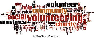 Volunteering word cloud concept Vector illustration