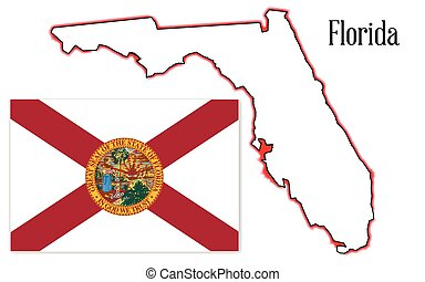 Florida State Map and Flag