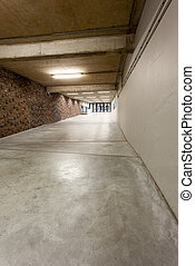 corridor - an long corridor in large building with cascading...