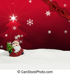 greeting card santa clause snow red