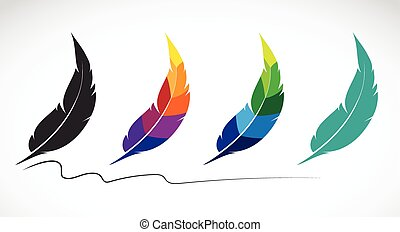 Vector group of feathers on white background