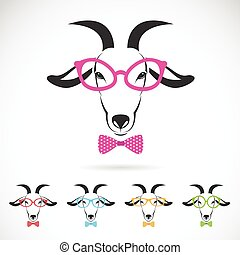 Vector images of a goat wearing glasses on white background