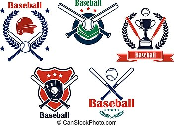 Colored Baseball emblems and badges - Colored Baseball...