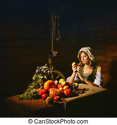Peasant woman - Peasant Woman cook a festive meal to the day...