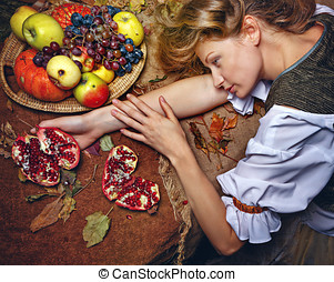 Peasant woman - Peasant Woman put her head on the table,...