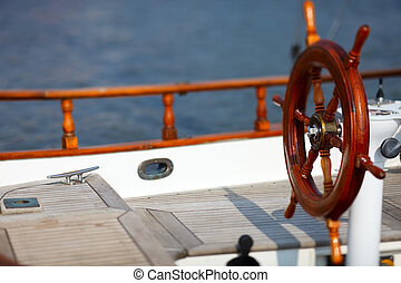 Yacht wheel - Wooden wheel on luxury yacht