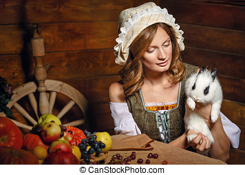 Peasant woman - Peasant Woman holding a rabbit Table with...